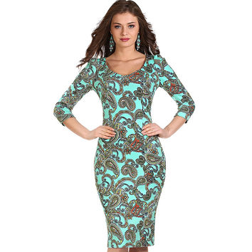 Womens Elegant Vintage Rockabilly Spring Floral Flower Print Pinup Round Neck Party Clubwear Sheath Bodycon Dress 1228
