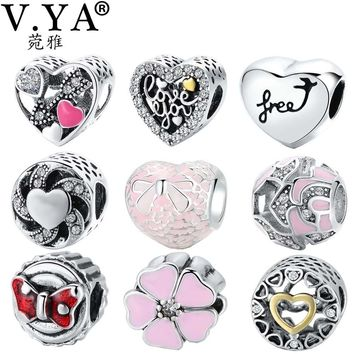 V.YA Beads for jewelry making Women's Men's Beads Charms fit for Pandora Bracelets&Bangles DIY Accessory Gift