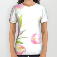 Pink tulips All Over Print Shirt by Sylvia Cook Photography