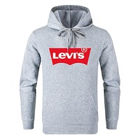 Levis Autumn And Winter New Fashion Letter Print Women Men Hooded Long Sleeve Sweater Gray