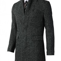 H2H Mens Hidden Buttons Mandarin Collar Single Breasted Half Coat With Pockets (KMOCO088) - Jackets &Coats
