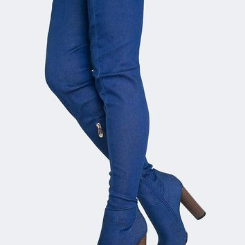 DCK7YE Stretchy Denim Thigh High Boots