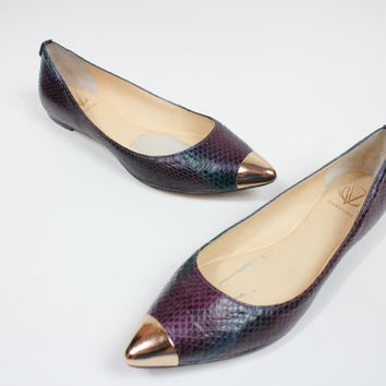 Size 8 Purple snake skin ballerina flat / flat heels shoes / snake skin shoes / purple shoes / size 8