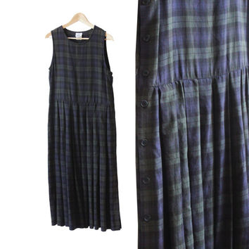 Vintage Laura Ashley Plaid 90s Grunge Button Sleeveless Dress, Green and Navy Blue | USA Women's Size 10