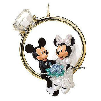 Licensed cool 2016 Disney Store Mickey & Minnie Mouse Married Wedding RING Christmas Ornament