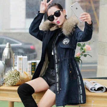 XXL Plus Size Winter Coat Women 2016 Fashion Fur Hooded Slim Waist Denim Parkas Women Thicken Wadded Jacket Outerwear H6795