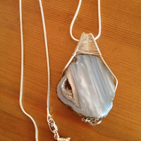 Beautiful Beachy Boho Sterling Silver Wire Wrapped  Agate Pendant with Druzy Window on an 18: Sterling Chain