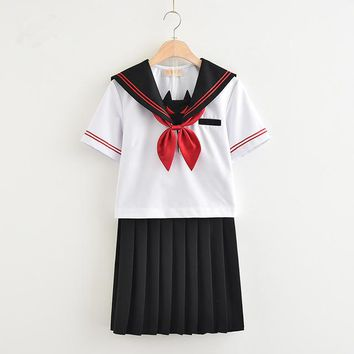 2018 summer sailor suit students school uniform for teens preppy style cos uniform jk japanese seifuku bow skirt shirt
