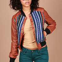 Indie Stripes Bomber Jacket - Faux Leather Jackets at Pinkice.com