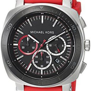 Michael Kors Men's 43mm Bax Stainless Steel Chronograph Watch With Red Silicone Strap