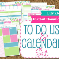 EDITABLE and INSTANT DOWNLOAD To Do List and Calendar Set Brights-Home Organization Printables--8 Documents