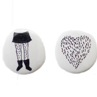 White Furr Love Buttons