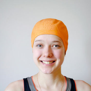 Vintage Swimming Cap / Orange Embossed Flowers Retro Bathing Cap / Rare Floral Soviet Vintage Sport Accessory / USSR Beachwear