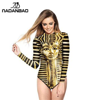 ONETOW Loog Sleeve Zippered Surfing Bathing Suit Pharaohs Of Ancient Egypt Printed Women Swimwear Bodysuit One Piece Swimsuit Y02031