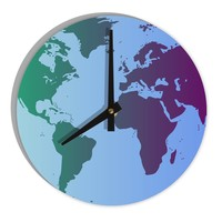 "Cool World Map Design 8"" Round Wall Clock  All Over Print"