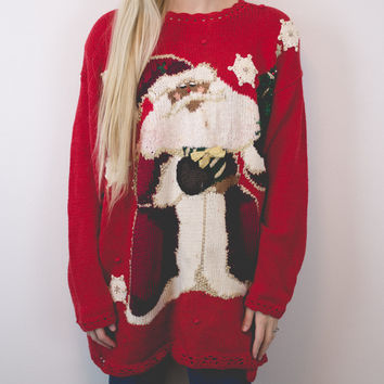 Vintage Black Santa Ugly Christmas Sweater