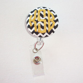 Retractable ID Badge Holder Reel  - Fabric Button - metallic gold on black white chevron - custom monogram 3 circle  initial