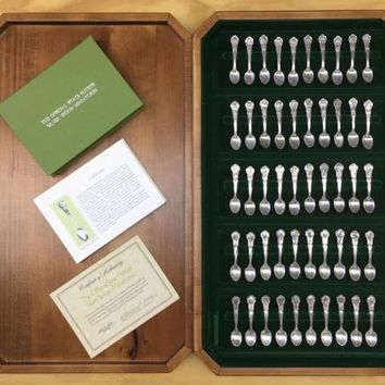 Vintage Franklin Mint Official State Flower Silver Spoon Miniatures Set 1978