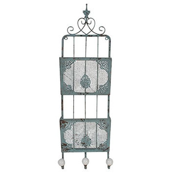 Two Tier Distressed Wall Mounted Metal File Holder with Three Hooks - Magazine Rack - Filing Bin - Mail Sorter - French Country - Shabby Chic Décor - Green - Black - White (Green)