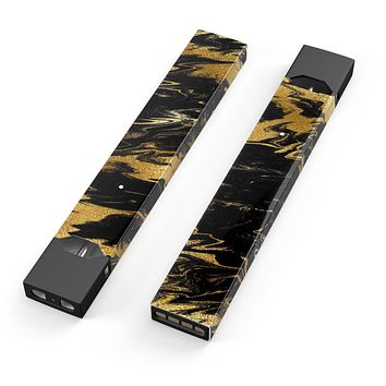 Skin Decal Kit for the Pax JUUL - Black & Gold Marble Swirl V5
