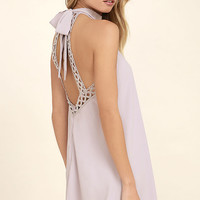 Any Sway, Shape, Or Form Lavender Lace Halter Dress