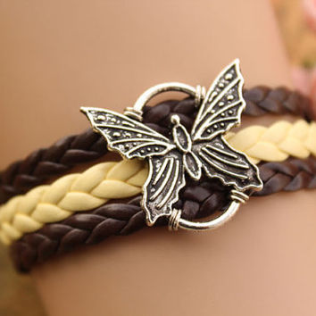 butterfly bracelet,retro silver butterfly pendant,yellow and brown leather braid bracelet---B198