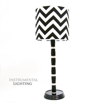 Clarinet Barrel Lamp with Black and White Chevron Shade