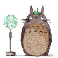 Totoro & Starbucks Art Print by LOETZ