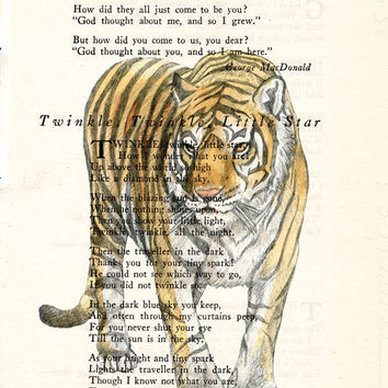 Book Page Art Bengal Tiger Poem Page Art Antique Book Upcycled Page Art Print Wall Decor Bengal Tiger Print cp343