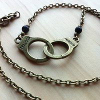 Handcuffs with Obsidian Necklace