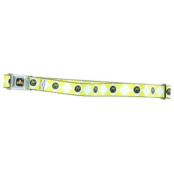 Power Rangers Logo Diamond Yellow Ranger Kids Seatbelt Belt (For Pants)