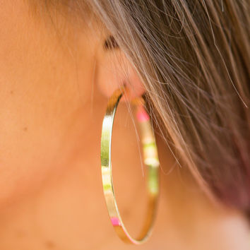 All About Me Hoop Earrings, Gold