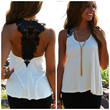 SZ SMALL Fontaine Ivory and Black Lace Back Tank