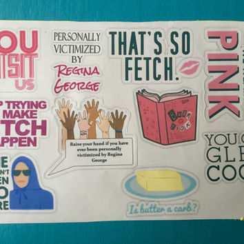 Mean girls stickers (pack of 10) | laptop sticker | binder stickers | decorative stickers | quote stickers | Lindsay Lohan