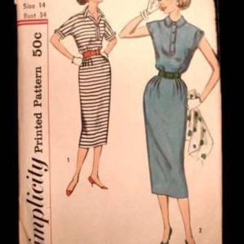 Vintage Simplicity Sewing  Pattern 2344 Miss Dress Sz 14 1950S