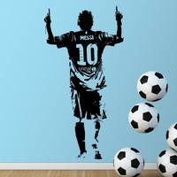 Lionel Messi Figure Wall Sticker Vinyl DIY home decor football star Decals soccer athlete for kids room