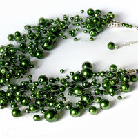 Green Necklace. Multistrand Necklace. Beaded Jewelry