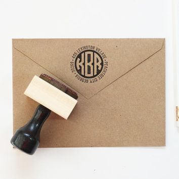 Rubber Address Stamp Circle Monogram Stamp Personalized Return Address Label Custom Address Stamp New Home Wedding Gift Modern Stamp