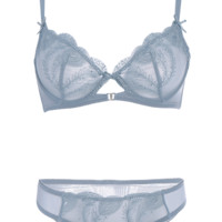 Trasparent Embroidered Ultra Thin Bra Set