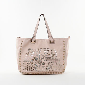 Graphic Laser Cut Tote in Pink