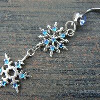snowflake belly ring snowflakes aqua rhinestones in winter Christmas fantasy boho gypsy hippie belly dancer and hipster style