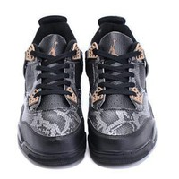 Cheap Air Jordan 4 Retro Men Shoes Snake Skin Black Gold