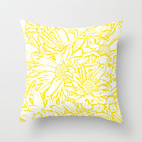 Daisy Daisy - Golden Sunshine Throw Pillow by Lisa Argyropoulos