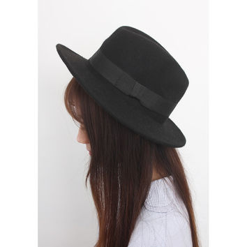 Black Wide-Brim Wool Fedora Hat