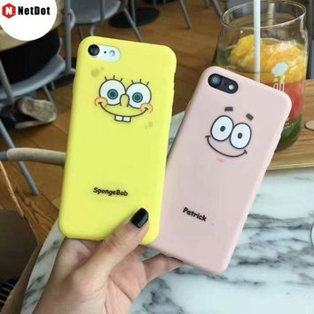 NetDot For iPhone 8 7 6s para Coque 2017 Silicone SpongeBob SquarePants Patrick Back Shell For iPhone 7 Plus 6 Plus Para Capinha