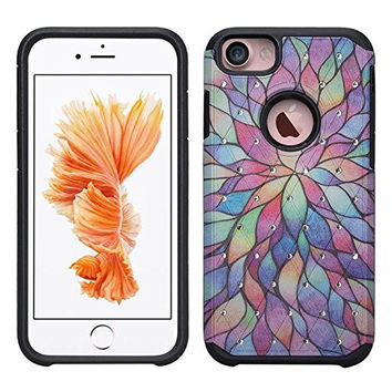 Apple iPhone 6s Case / 6 Case | Slim Hybrid Dual Layer Diamond Case for Iphone 6S/6 - Rainbow Flower