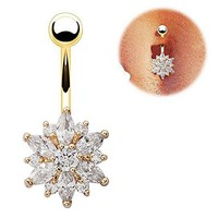 Beautiful Flower Cubic Zirconia Belly Button Bar Barbell Navel Ring Body Piercing Jewelry