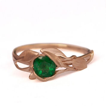 Leaves Engagement Ring - 18K Rose Gold and Emerald engagement ring, engagement ring, leaf ring, filigree, antique, May Birthstone, vintage