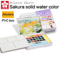 SAKURA Solid Water Color Paint 12/18/24/30 Colors ,Solid Water Color+Needle Pens+Water Brush+Watercolor Paper+Cup Sets