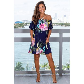 Navy Printed Off Shoulder Short Dress
